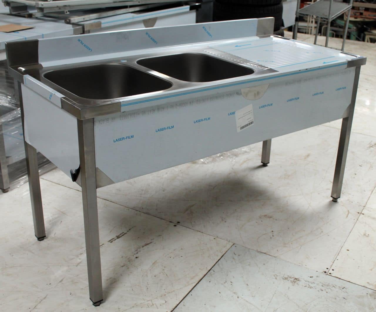 Plonge inox 2 bacs kvt occasions for Table cuisine professionnelle inox