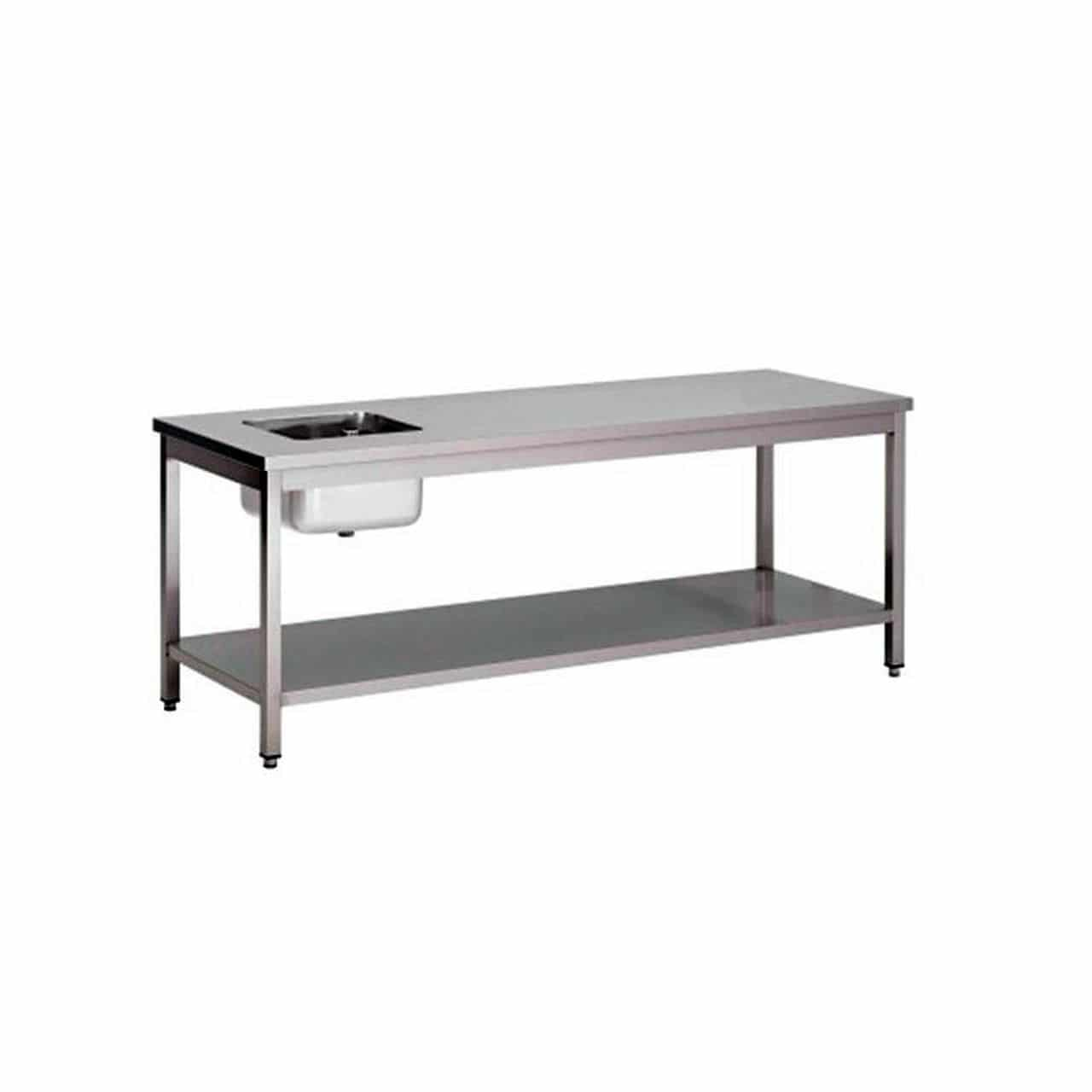 Table du chef centrale 1 bac kvt occasions for Table evier inox professionnel
